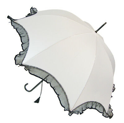 Blooming Brollies Boutique Scalloped with Black Lace Trim Umbrella - White