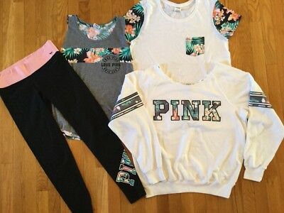 4 Piece Outfit Victorias Secret Love Pink Print Tank Top Sweatshirt Leggings