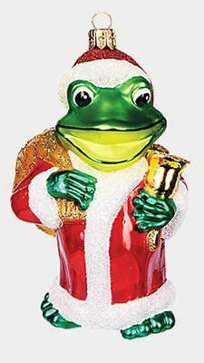 Frog Dressed as Santa Claus Polish Mouth Blown Glass Christmas Ornament