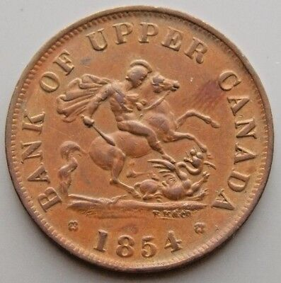 1854 PC-5C1  Province Of Canada Colonial Canadian Bank Of Upper Canada Token