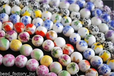 20pcs Mixed Color Round Ceramic DIY Bracelet Jewelry Loose Beads Charm 10mm