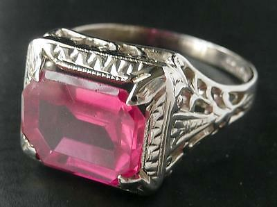 Antique Art Deco 14k White Gold Vintage 2.75Ct Brilliant Ruby Filigree Ring~~Sz7