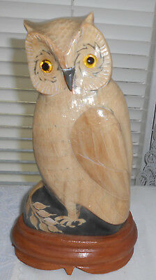 """Vintage Hand Carved Buffalo Horn Owl 9.5"""" Textured Feathers Glass Eyes"""