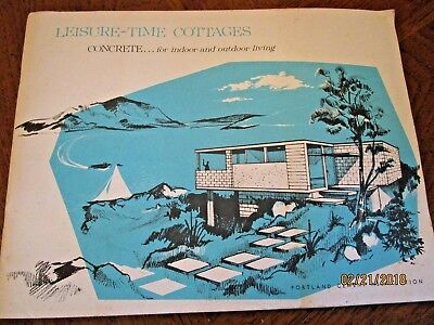 1960 MID CENTURY MODERN LEISURE TIME COTTAGES PORTLAND CEMENT fab ART PICS LARGE
