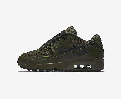 Details zu Juniors Nike Air Max 90 Mesh SE GS AA0570 300 Triple Green Black Trainers
