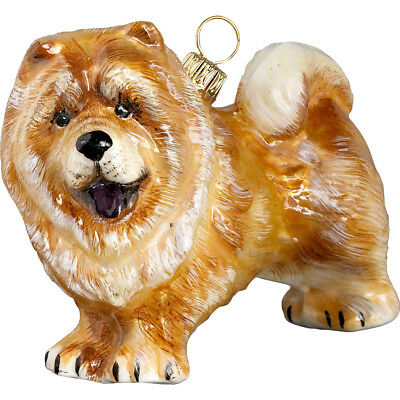 Chow Chow Standing Dog Blown Polish Glass Christmas Ornament Decoration