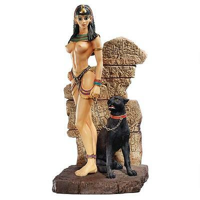 Egyptian Exotic Panther Goddess Statue Black Feline Queen Egypt Sculpture NEW