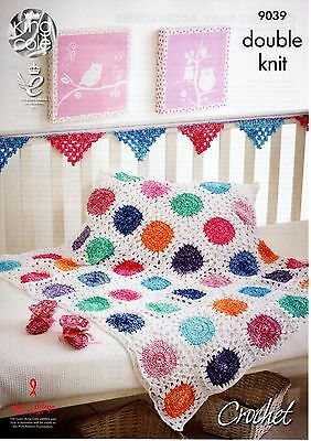 King Cole Crochet Pattern DK Yarn - BABY BLANKET , BOOTIES & BUNTING 9039