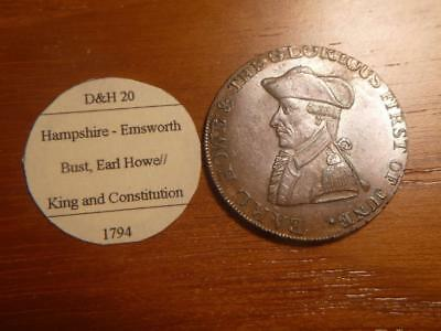 1794 Hampshire-Earl Howe D&H 20, King & Constitution AU+ Condition..SKU#12471