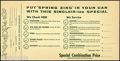 Vintage receipt SINCLAIR MOTOR OIL Put Spring Zing in Your Car unused n-mint+