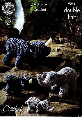 King Cole Amigurumi Crochet Pattern DK Yarn  MOTHER,BABY ELEPHANTS & RHINOS 9046