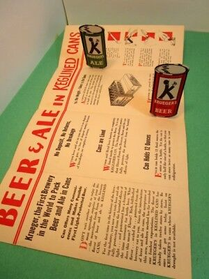 Vintage 1930s KRUEGER BEER BROCHUE Pop-UP Keglined 12 oz cans