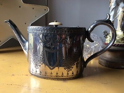 Antique Victorian Philip Ashberry Sons Sheffield Silver Plate Teapot Country Hou
