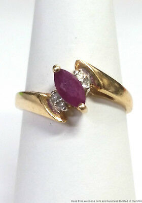 Vintage 14k Yellow Gold Natural Ruby Diamond Numbered Ring