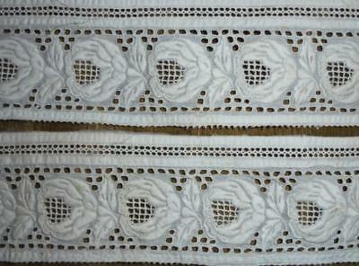 2 BEAUTIFUL PIECES 19th CENTURY WHITEWORK, ROSES, PROJECTS