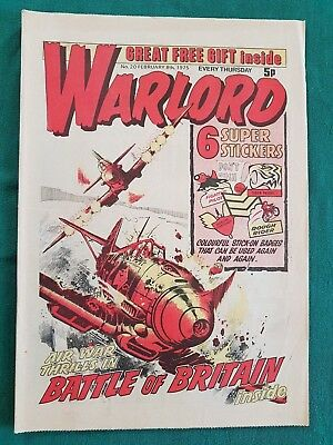 RARE WARLORD COMIC No.20 1975 & 6 SUPER STICKER STICK ON BADGES AS ORIGINAL