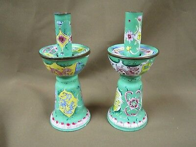 Antique Chinese Pair Of Polychrome Enamelled Cloisonne Hand Painted Candlesticks