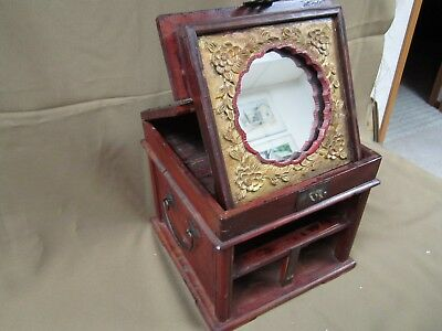 ANTIQUE CHINESE HAND CARVED MIRROR VANITY BOX JEWELRY CHEST 1890-1920,s