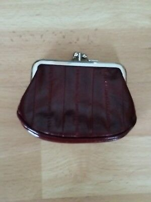 Lee Sands Double Snap Close Eel Skin Coin Purse=Burgundy