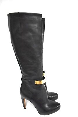 5d37f2e454130 New Sam Edelman Klara Leather Black Gold Buckle Knee High Heel Boots Size  9.5