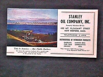 Stanley Oil Co Inc New Bedford Mass Advertising Blotter Collectible