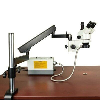 7X-45X Stereo Trinocular Microscope+ Long Articulating Arm Stand+Cold Ring Light