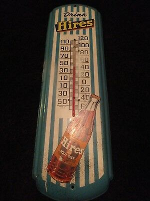 """Original Antique 1940s Hires Root Beer Thermometer Sign Metal Gas Oil Vtg 27"""""""