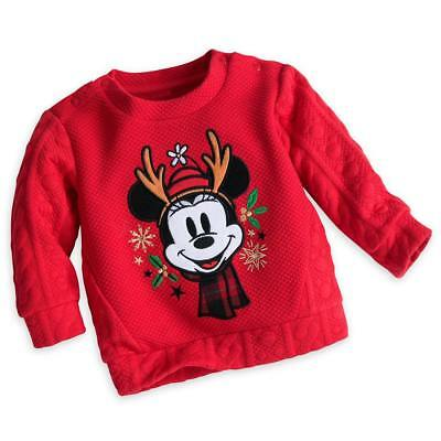 Disney Store Minnie Mouse Baby Cute Winter Sweater Girls Size 0 3 6 9 12 Months