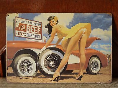Pin up Girl Vintage metal Tin signs Home Pub wall Sticker decor Man Cave