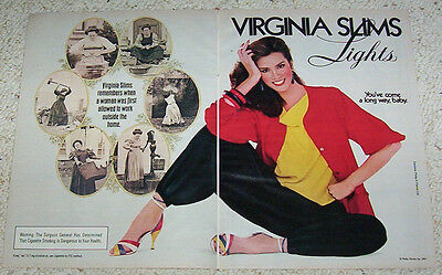1983 print ad - Virginia Slims cigarettes Sexy Girl smoking work outside home