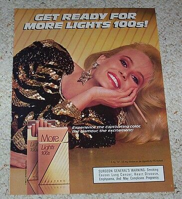 1986 ad page - More Cigarettes - sexy blonde girl smoking vintage PRINT ADVERT