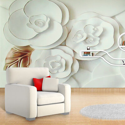 3D Wallpaper Mural Embossed Flowers White Roses Wall Paper TV Background Wall