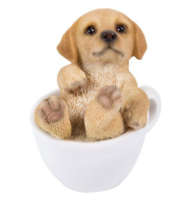 New TEACUP PUPS Figurine Statue GOLDEN RETRIEVER DOG PUPPY in Cup Mug Toy Figure