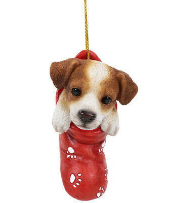 STOCKING PUPS Ornament JACK RUSSELL TERRIER DOG Christmas Hanging Decor Figure