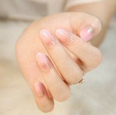 24 Pcs Set Pink Gradient Style Press-On Nail Tips Completed Fake Nails