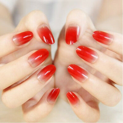 24 Pcs Set Red Gradient Style Press-On Nail Tips Completed Fake Nails