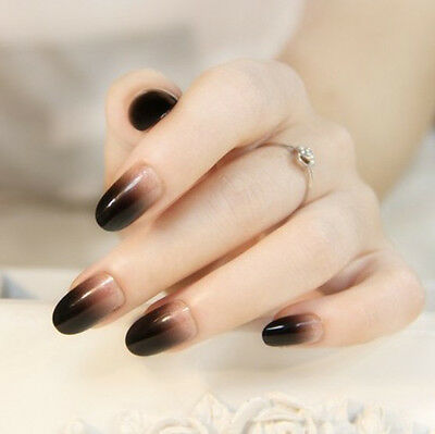 24 Pcs Set Black Gradient Style Press-On Nail Tips Completed Fake Nails