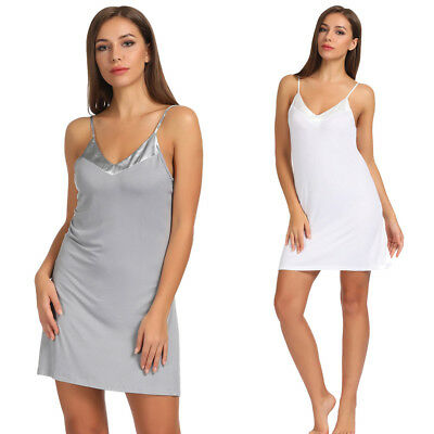 Zexxxy Sexy Women's Ladies Spaghetti Straps V-Neck Side Split Cotton Slip Dress