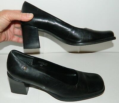 a6bafae50f Etienne Aigner Black Leather Loafer Pump Heels Shoes Womens Size 6M - LOGO