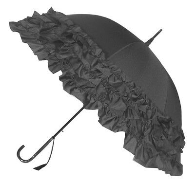 Blooming Brollies Boutique Triple Frill Stick Umbrella - Grey