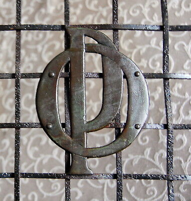 """1890's """"PO"""" POST OFFICE Sign front Antique Post Office Teller Window Brass Metal"""