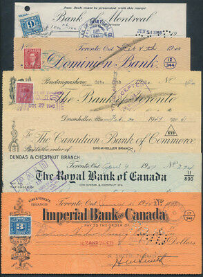Canada: 1940-1951 Set of 5 different cheques, mostly with affixed Duty Stamps