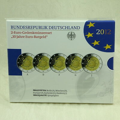 2 Euro Coins Gedenkmünzenset 2012 10 Jahre Bargeld Cash Proof Pp Germany Brd