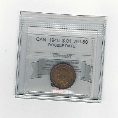 **1940 Double Date**Coin Mart Graded Canadian Small One Cent, **AU-50**