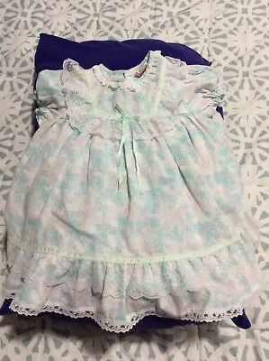 Vintage 80s Baby Girls Toddler Mint Pink Lace blue dress girl size 4 4t