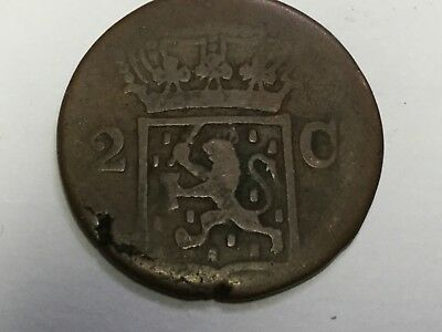 NETHERLANDS EAST INDIES KM291 1838-J 2 Cent coin, worn, nicked