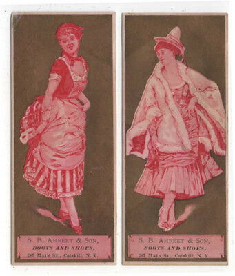 (2) Catskill, New York, S. B. AHREET & Son,  Boots & Shoes Trade Cards, Women