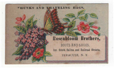 Syracuse, New York, ROSENBLOOM BROTHERS, Boots & Shoes, Trunks & Bags Trade Card