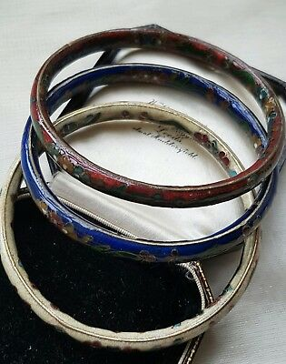 Vintage Floral Chinese Cloisonne Stacker Bangles X 3