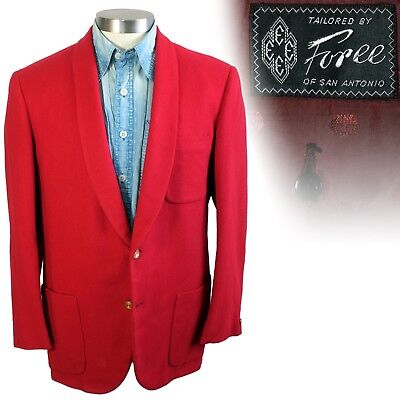 Vintage 1950s 1960s Foree red shawl collar mess jacket 38